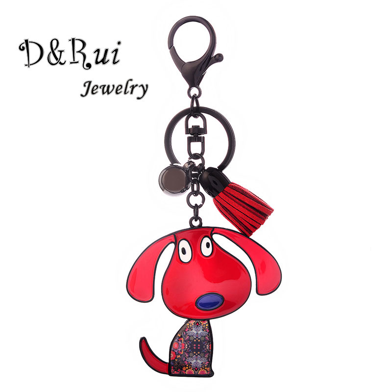 Enamel Zinc Alloy Key Chains Cute Cartoon Dog Keychains New Fashion Creative Animal Keyring Trendy Versatile Jewelry For Women