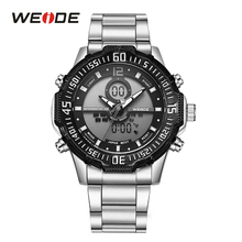 WEIDE Analog Day LCD Dual Display Stainless Steel Band Strap Back Light Case Hardlex Men Fashion Sport Quartz Wrist Watch