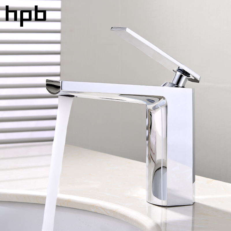 HPB Polished Chrome Bathroom Basin Faucet Single Handle Sink Mixer Tap Square Style Hot And Cold Water Torneira HP3047 hpb square brass basin faucet hot and cold water single hole handle sink bathroom faucets mixer tap grifos para lavabos hp3037