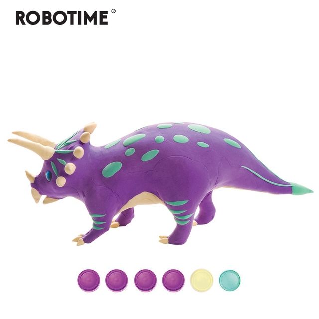 Robotime Creative DIY Polymer Triceratops Clay Slime Fluffy Light Soft Plasticine Toy Modelling Clay Playdough Slimes Toys FY05
