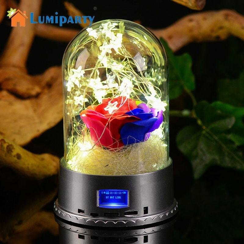 LumiParty LED Night Light with Bluetooth Speaker USB Charging Port Flower Decoration Glass Lampshade