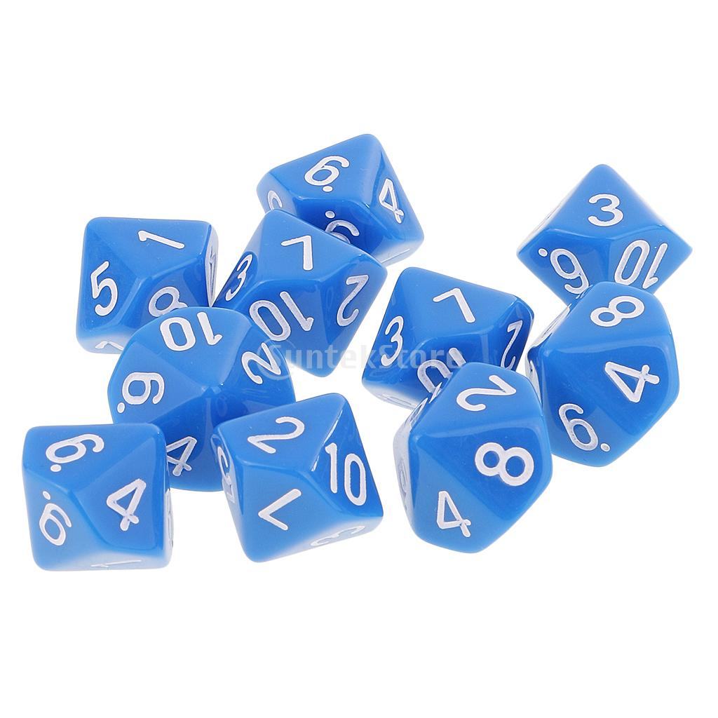 10pcs 10 Sided Dice D10 Acrylic Dice for Dungeons and Dragons Games Blue ...
