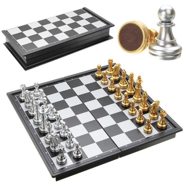 Offre spéciale jeu d'échecs argent or pièces pliant magnétique pliable conseil contemporain ensemble Fun famille jeux de société cadeaux de noël 1