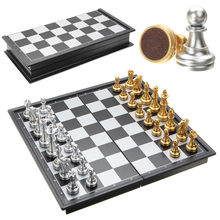 Hot Sale Chess Game Silver Gold Pieces Folding Magnetic Foldable Board Contemporary Set Fun Family Board Games Gifts Christmas(China)