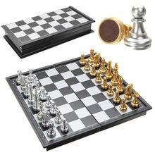 Лидер продаж шахматы цвет серебристый, золотой части складной магнитные складная доска современного набора весело Семья настольные игры рождественские подарки