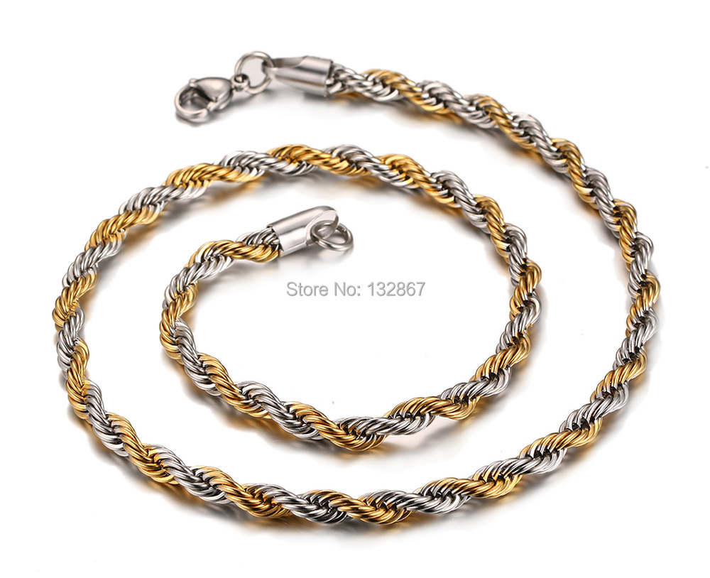 twist twisted steel watches shipping jewelry free goldplated product rope necklace chain stainless chains