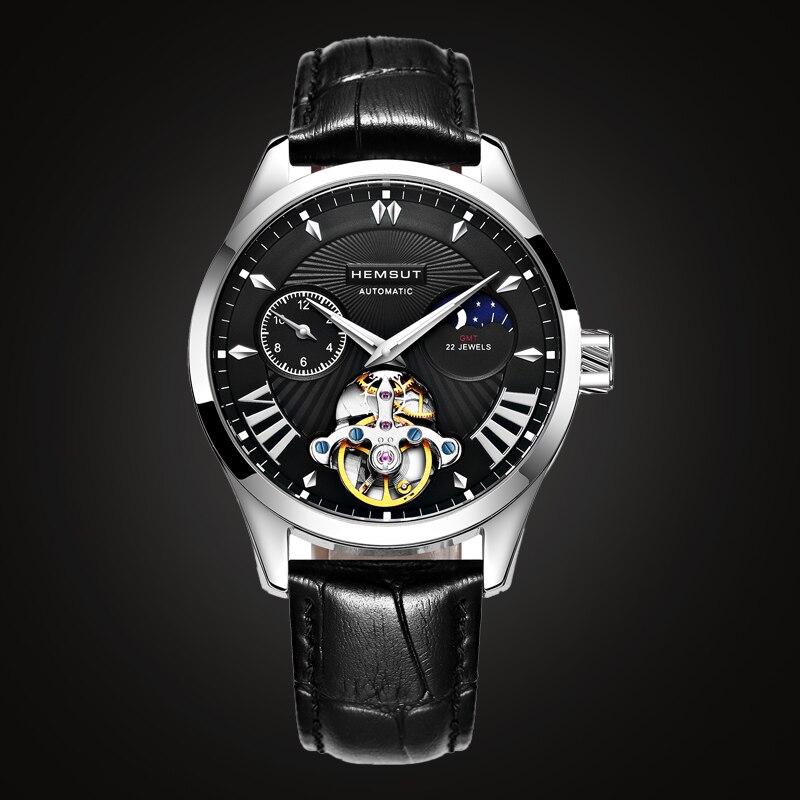 새로운 패션 럭셔리 브랜드 시계 남자 자동 기계식 시계 남자 스포츠 방수 가죽 시계 relogio masculino-에서기계식 시계부터 시계 의  그룹 1