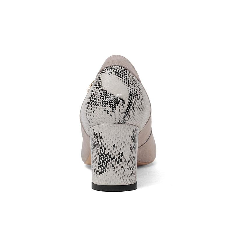 Serpiente 2018 Diseño Bombas Mujer Nuevas Cuero Para Piel Negro Moda Puntiaguda Punta De Genuino Elegantes gris Zapatos Con Odetina SqRBx
