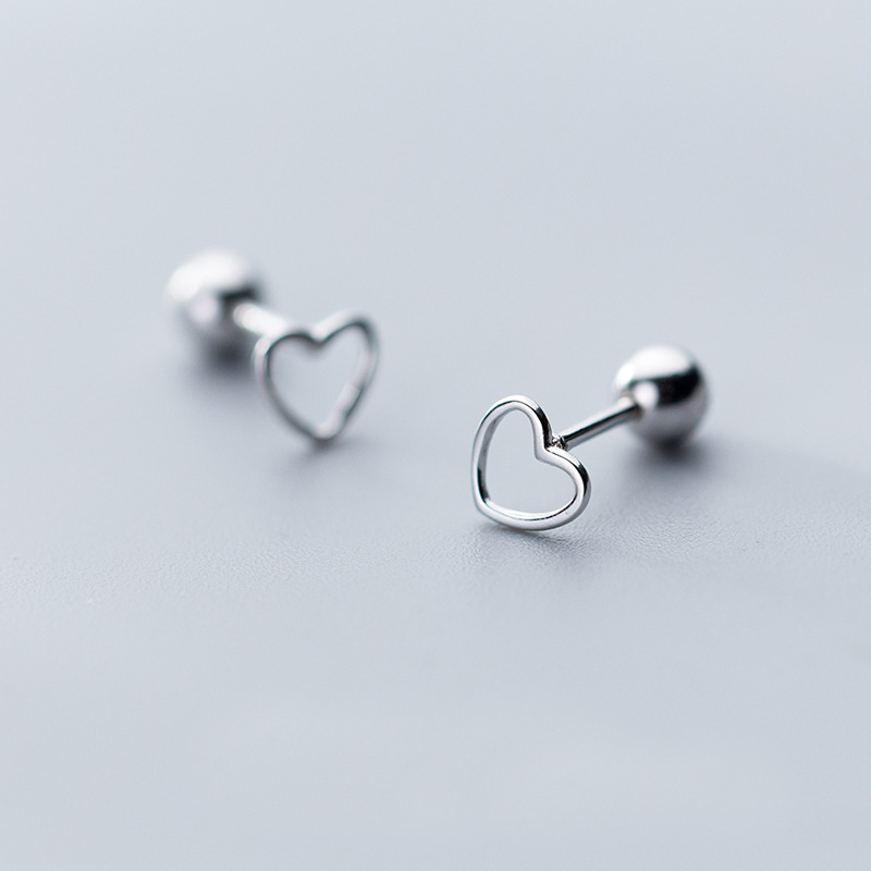 Pequeñas pendientes corazón real Sterling plata 925 señora chica niños aretes