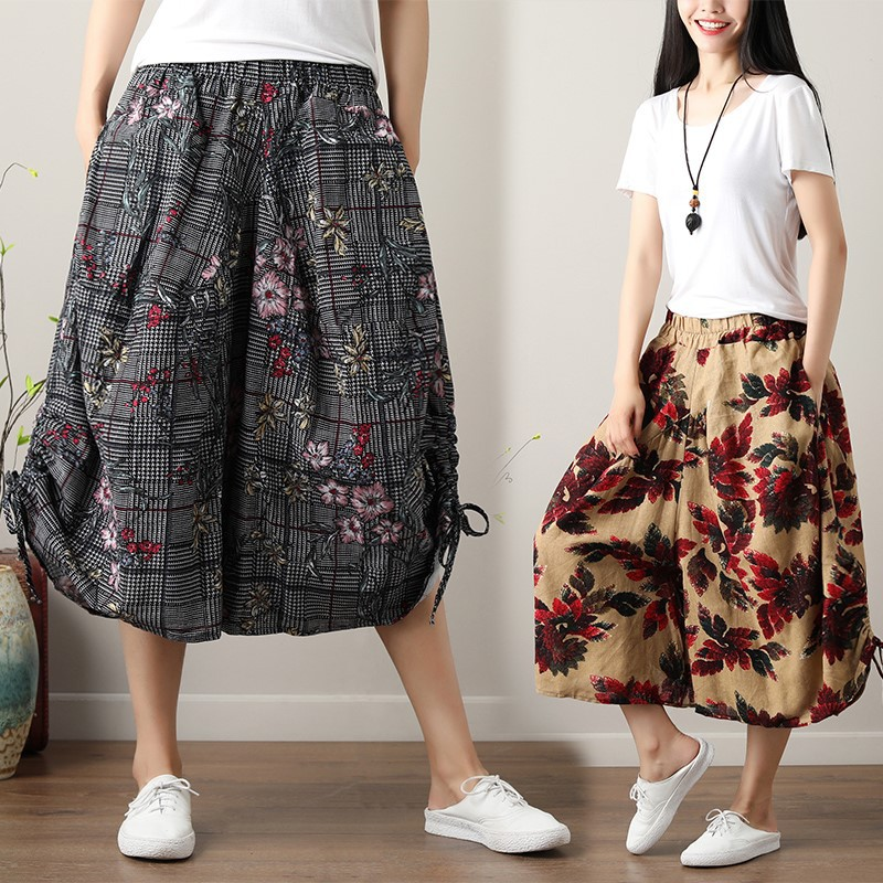 Hot sale 2019 new national wind cotton and linen elastic waist cropped trousers printed   pants   linen large size   wide     leg     pants