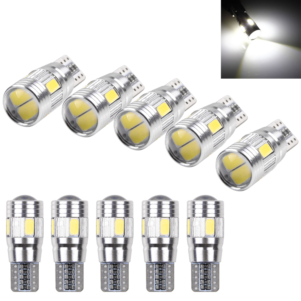 10X T10 194 W5W 5630 LED Car 6SMD HID White Canbus Error Free Wedge Light Lamp