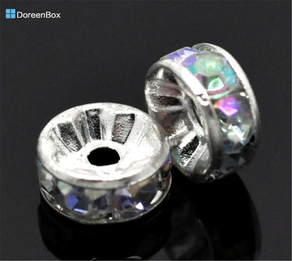 Дорин Box hot-Silver Цвет Акриловые Ясно AB Цвет Брошь со стразами Распорки бисер 8 мм, 100 шт. в партии (B14998)