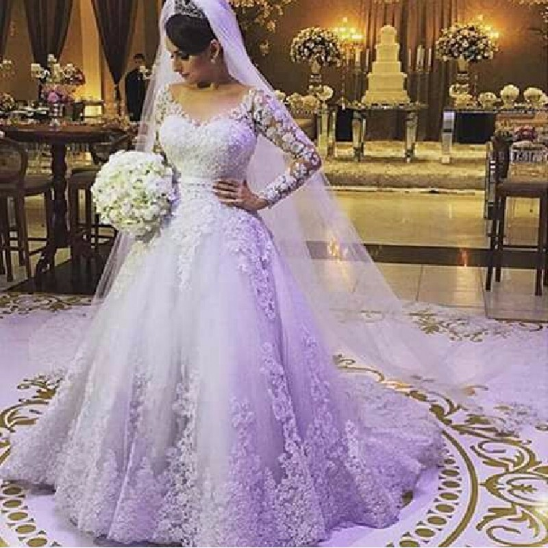 2017 Charming Plus Size Ball Gowns Long Sleeve Wedding Dresses Lace Long Tail China Bride Bridal Gowns Robe De Mariee 2016