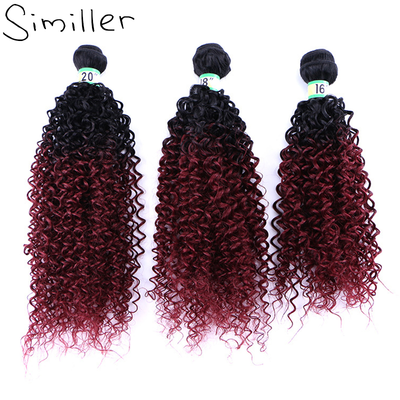 """Similler Afro Women Kinky Curly Synthetic Hair Extensions Double Weft Bundles Weaving Black T 99j Ombre 16"""" 18"""" 20"""" 210g"""