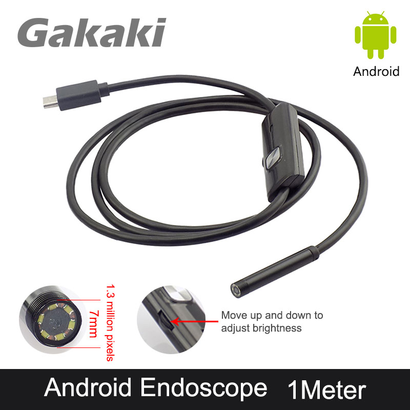 Gakaki 7MM 1M Android USB Endoscope Camera Waterproof Snake Tube Car Detection Inspection Android OTG USB Borescope Camera eyoyo nts200 endoscope inspection camera with 3 5 inch lcd monitor 8 2mm diameter 2 meters tube borescope zoom rotate flip