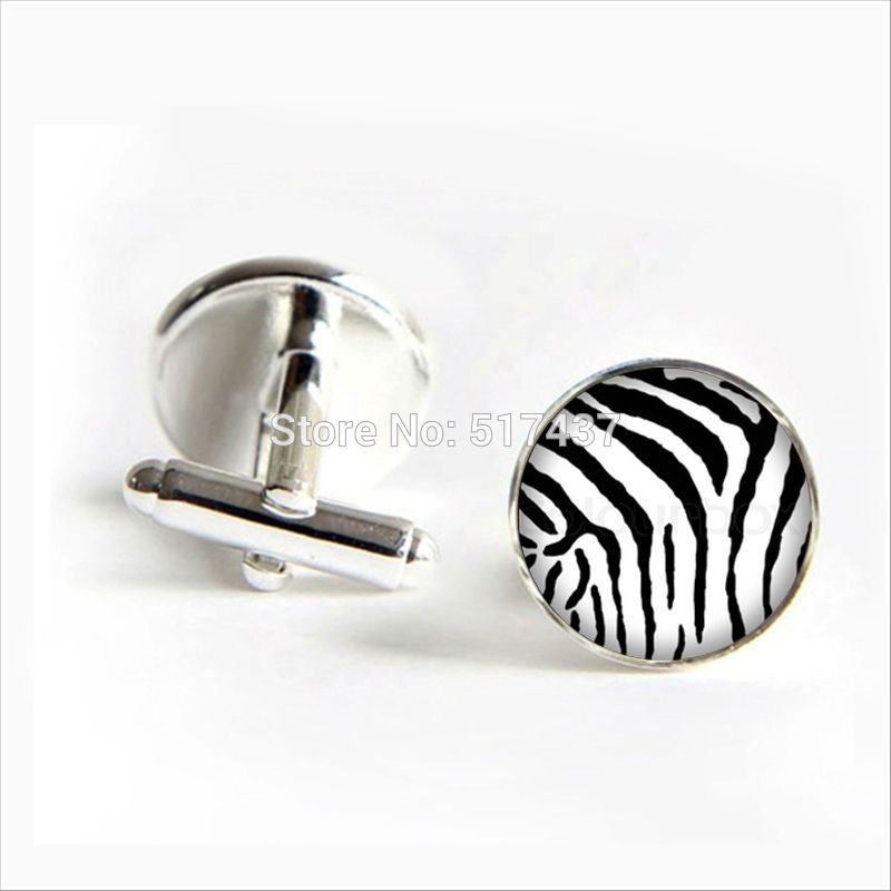 2017 Wholesale Zebra Cuff Links Zebra Cufflink Glass Zebra Cuff Link Silver Shirt Cufflinks For Mens