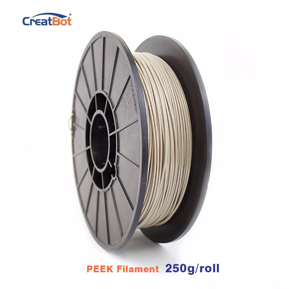 250g CreatBot 3D Printer Filament 1.75mm Peek Filament High Temp Exotic Filament Extremely Strong Free shipping