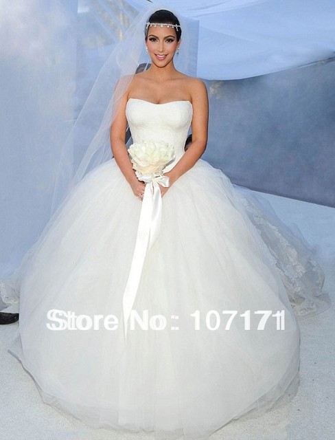 Custom Made Kim Kardashian Wedding Dress Strapless Lace Bodice Tulle Ball Gown