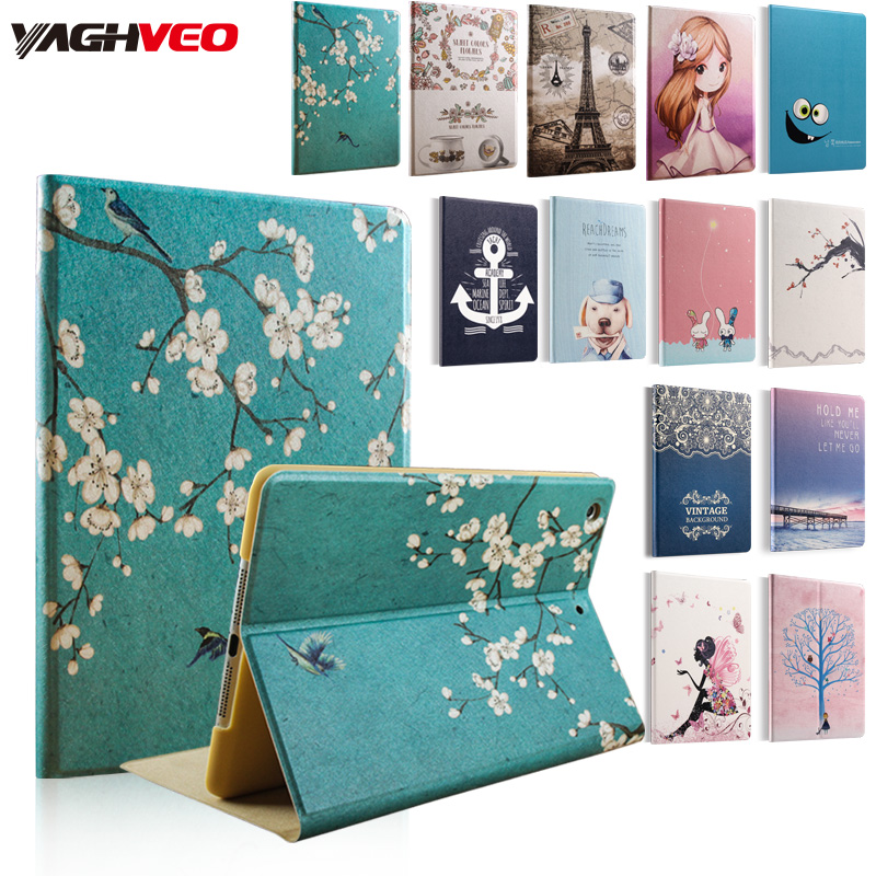 case for ipad mini 1/2/3 hard back Flip smart stand cover pu leather Printed Cute Girl Cartoon case Flower coque funda image