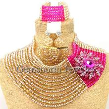 Fantastic Gold/Pink Nigerian Wedding African Beads Jewelry Set Luxury Bride Indian Jewelry Set Free Shipping WB335(China)