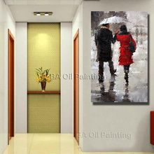 Beautiful Rain Scenery Street Lovers together Wall Art Paint By Numbers Oil Painting Free Shipping Home Decor(China)