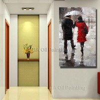 Beautiful Rain Scenery Street Lovers together Wall Art Paint By Numbers Oil Painting Free Shipping Home Decor