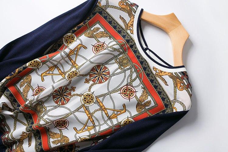 جديد الملابس الأوروبية والأمريكية الراقية بوتيك البرتقال مربع الطباعة موجة ضرب عودة اللون متماسكة طويلة الأكمام-في البلوفرات من ملابس نسائية على  مجموعة 2