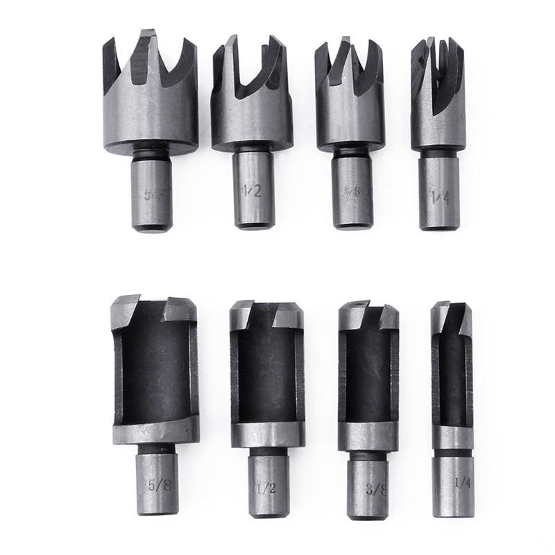 8Pcs Carbon Steel Wood Plug Hole Cutter Drill Bit 10mm 5/8 1/2 3/8 1/4 BSP тарелка the hundred acre wood 8 5 bm1257