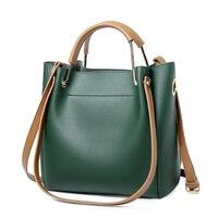 Simple Versatile Messenger Bag Women Bucket PU Leather Crossbody Bags For Women Big Soild Colour Lady Handbag