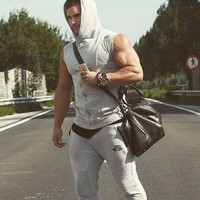 Body Engineers Men Cotton Hoodie Sweatshirts Fitness Clothing Bodybuilding Tank Top Men Sleeveless Tees Shirt Casual