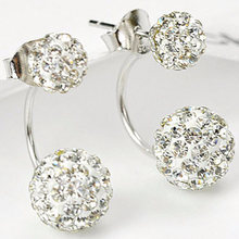 Silver Crystal Ball Stud Earrings High-grade Ear Jewelry Hypoallergenic Fashion Earrings Shambhala Ball ERN - 10861(China)
