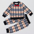 2016 New fashion Baby Boys Clothes Baby Boys Clothing Sets Fashion Plaid Bow Tie Style Long Sleeve + Pants Suits