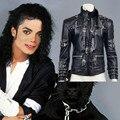 Редкие MJ Майкла Джексона BAD Черный Классический Пиджак Панк Металл Кожа Faux Fashion Clothing Show Подарок Косплей Бесплатная Доставка
