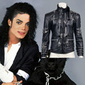Rare MJ Michael Jackson BAD Black Classic Jacket Punk Metal Fashion Faux Leather Clothing Show Gift Cosplay Free Shipping