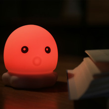 7 Colors Changed Cartoon Cute octopus USB Charging Light Soft Table Lamp Home Decor for Kids Touch Control Night light