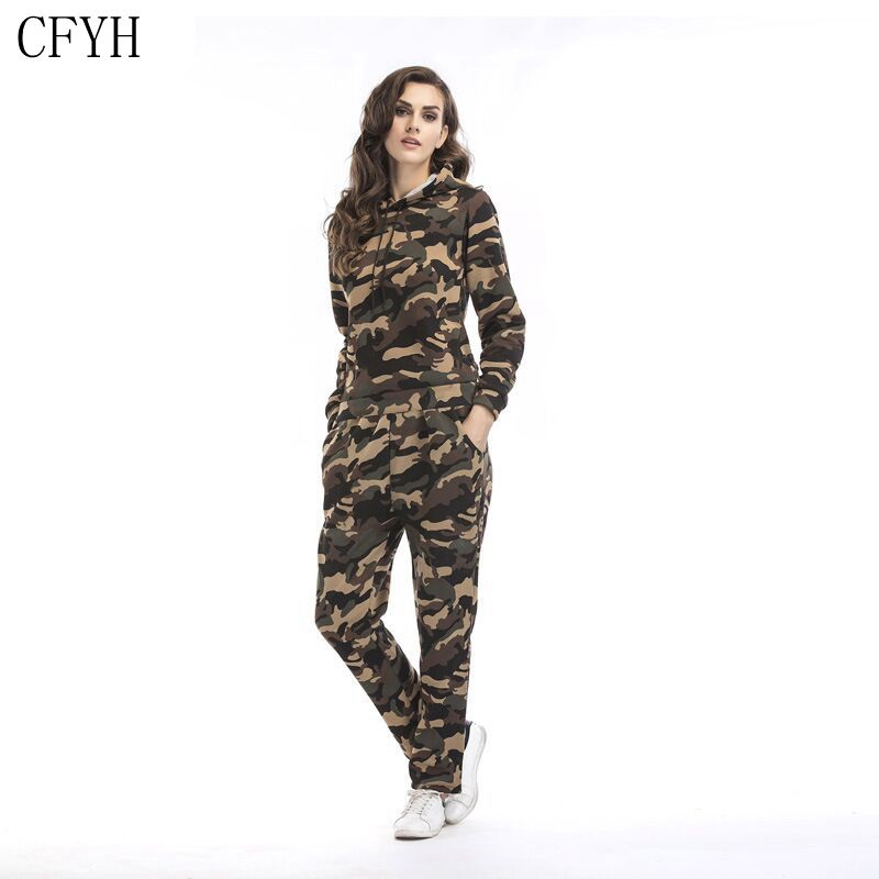 CFYH hoodies women camouflage printed tracksuits suits tracksuit hoodie women hoodie +pants 2 piece suits Plus Size S-XXL