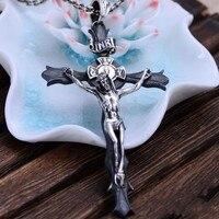 Black Silver Jewelry Wholesale S925 Retro Catholic Holy Cross Crucifix Crucifixion Of Jesus Xh045758