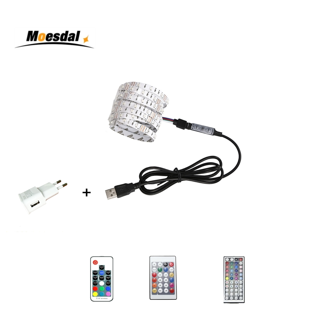 Moesdal USB LED tira 5 V potencia tira llevada RGB 2835 3528 SMD HDTV TV PC de escritorio Pantalla de retroiluminación Y Bias iluminación 0,5-5 m