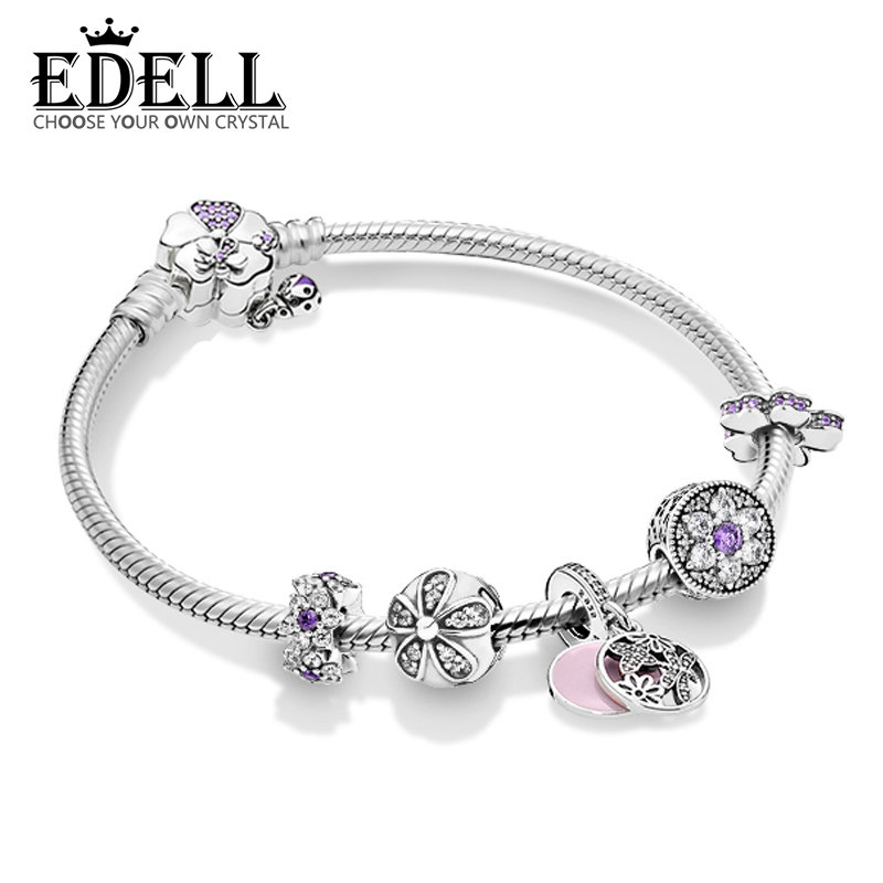 EDELL 100% 925 Sterling Silver Daisy Flowers Fresh Charm Natural Bracelet Set Elegant Retro Charming Gift Women Original Jewelry edell 100% 925 sterling silver new charm cute cow beaded exquisite lucky women gift original jewelry factory direct sales 797609