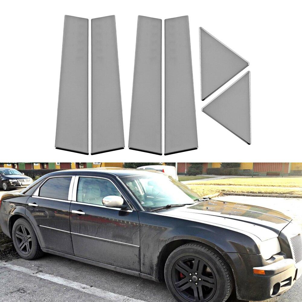 6 pcs StainlessCar Fenêtre Center Pilier Poster Couverture Garniture Pour 2003-2011 Chrysler 300C