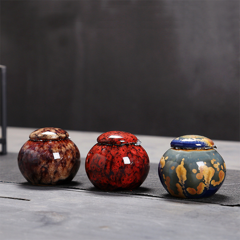 Chinese Ceramic Tea Caddies Canister Kung Fu Tea Set Accessories Tea Jar Cans Box For Home Or Office Teaware  A