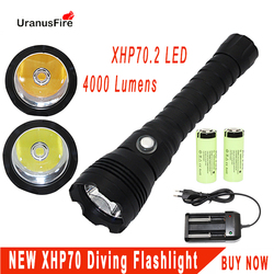 XHP70.2 светодиодный фонарик для дайвинга Тактический 26650 фонарь желтый/белый свет 4000 люмен подводный 100 м Водонепроницаемый погружной светиль...
