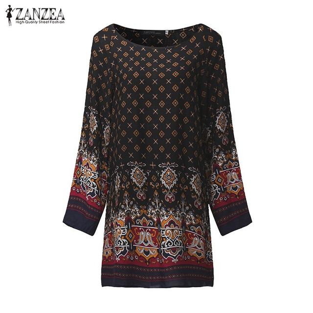 ZANZEA Women Dress 2018 Ladies Sexy Mini Vintage Print Dress O Neck Long Sleeve Floral Casual Ethnic Short Veatidos 2