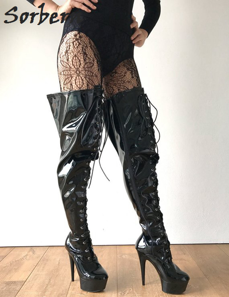 Stiefel Fetisch Stiefel Taille Sexy Wide Custom Frauen Lace Oberschenkel Sorbern F Boot Ferse Med Kalb High Up Schwarz eHbD2IWEY9