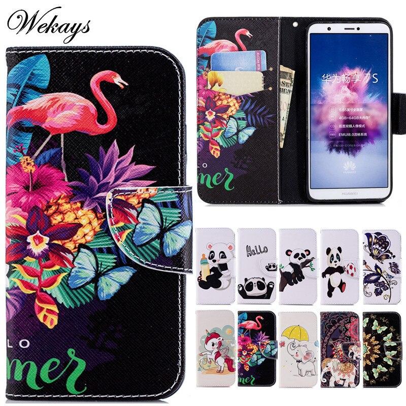 Wekays For Huawei Enjoy 7S 7 S Case Cute Cartoon Flamingo Leather Funda Case For Huawei P Smart Cover Case Enjoy 7S P Smart Capa