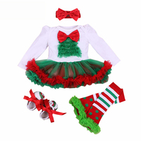 My First Christmas Baby Girl Clothes Long Sleeve Tutu Dress Infant Newborn Clothing 4PCS Outfits Bebe Birthday Costume Vestidos