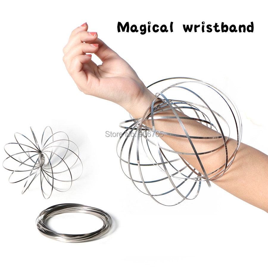 magical wristband flow ring Kinetic Spring Toy,metal iron ring stress reliever Bracelet novetly circle toys 4pcs/lot