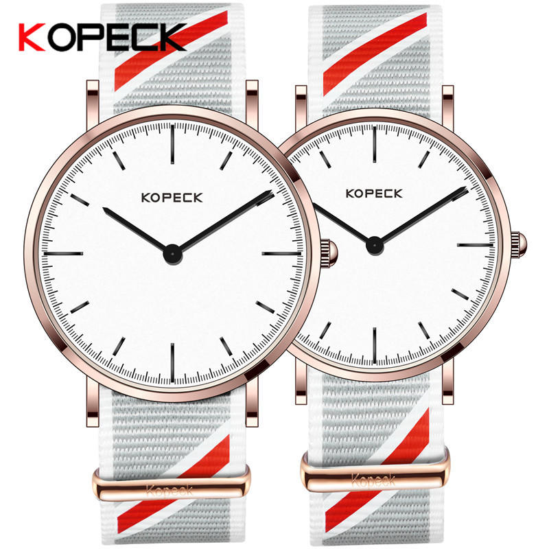 KOPECK Simple Slim Student Lovers Watch Fashion Nylon Strap Lovers Watch Men Women Quartz Watch Ladies Relogio Feminino rigardu fashion female wrist watch lovers gift leather band alloy case wristwatch women lady quartz watch relogio feminino 25