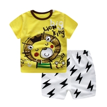 WYNNE GADIS Summer Baby Boys Cartoon Lion Short Sleeve T-shirt Tops + Loose Shorts Two Pieces Suits Casual Kids Clothing Sets
