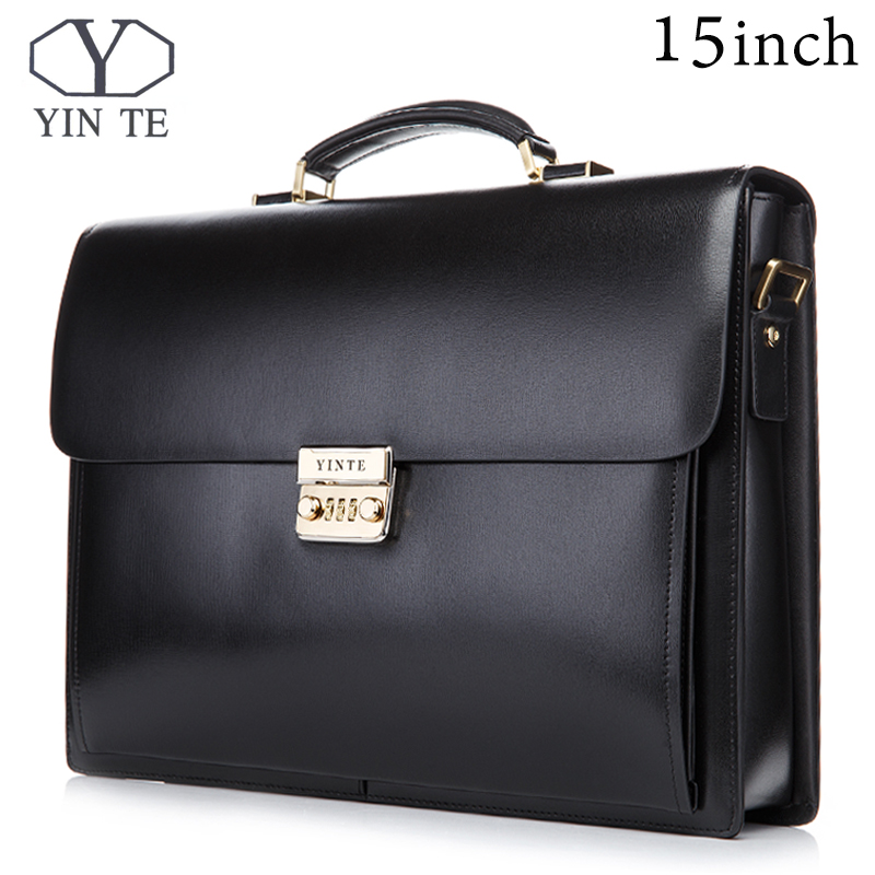 все цены на YINTE 15 inch Leather Briefcase Men's Big Briefcase Style Bag Black Laptop Bags Lawyer Handbag Document Portfolio Totes T8158-6